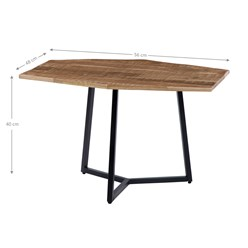WOMO-DESIGN 2er Set Beistelltisch, natur/schwarz, 76x56 / 56x48 cm, sechseckig, aus massives Mangoholz und Eisen