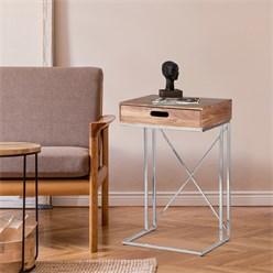 WOMO-DESIGN Beistelltisch mit Schublade, natur/silber, 45x35x76 cm, rechteckig, aus massives Mangoholz und rostfreier Edelstahl