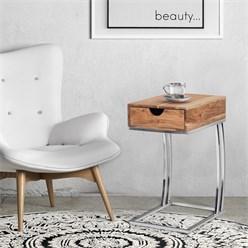 WOMO-DESIGN Beistelltisch mit Schublade, natur/silber, 30x39x59 cm, rechteckig, aus massives Mangoholz und rostfreier Edelstahl