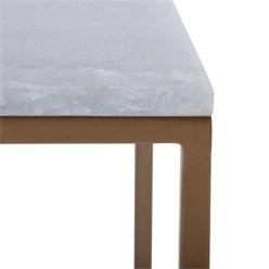 WOMO-DESIGN 2er Set Beistelltisch, altmessing/weiß, 40x40 / 35x35 cm, quadratisch, aus Stein und Eisen