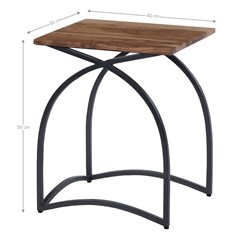 WOMO-DESIGN 2er Set Beistelltisch, natur/eisen, 35x40 / 30x35 cm, rechteckig, aus Mangoholz und Eisen