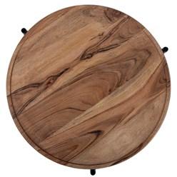 WOMO-DESIGN 2er Set Beistelltisch, natur/schwarz, Ø 40x55 / 35x50 cm, rund, aus Mangoholz und Eisen