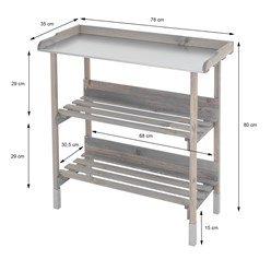 WOMO-DESIGN Pflanztisch mit vernickelter Arbeitsplatte, grau lasiert, 80x78x35 cm, aus Kiefernholz und vernickeltem Metall