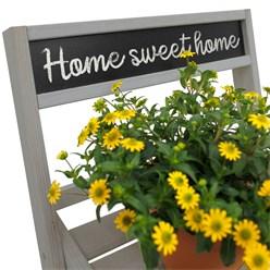 WOMO-DESIGN Blumenleiter 3 stufig mit Kreidetafel, grau, 71.5x36.5x5.5 cm, aus Holz