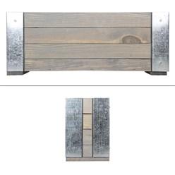 WOMO-DESIGN Blumenkasten grau, 19x48x13 cm, aus Kieferholz und vernickeltes Metall