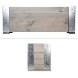 WOMO-DESIGN Blumenkasten grau, 22x58x18 cm, aus Kiefernholz und vernickeltem Metall