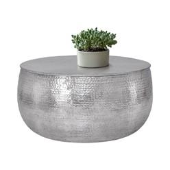 Couchtisch Ø 90x45 cm Silber aus Aluminium in Hammerschlag Optik WOMO-Design