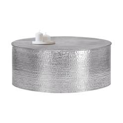 Couchtisch Ø 90x37 cm silber aus Aluminium in Hammerschlag Optik WOMO-Design