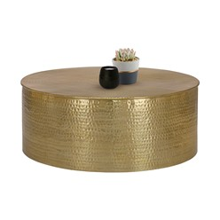 Couchtisch Ø 90x37 cm Gold aus Aluminium in Hammerschlag Optik WOMO-Design