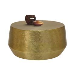 Couchtisch Ø 90x45 cm Gold  aus Aluminium in Hammerschlag Optik WOMO-Design