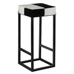 Barhocker Ø 35x75 cm weiß/schwarz aus Metall und Büffellfell WOMO-Design