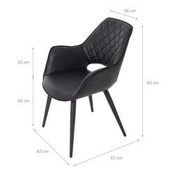 WOMO-DESIGN 2er Set Esszimmerstuhl, schwarz, 63x63 cm, aus Kunstleder