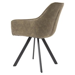 WOMO-DESIGN 2er Set Esszimmerstühle olive, mit Rucken- und Armlehnen, aus Samt mit Metallbeine
