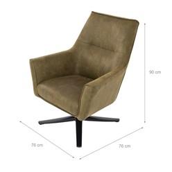 WOMO-DESIGN Loungesessel mit Armlehne oliv, 76x76x74 cm, aus Microleder mit Veloursoptik
