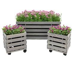 3er Set Blumenkasten auf 4 Rollen, grau lasiert, aus Kiefernholz