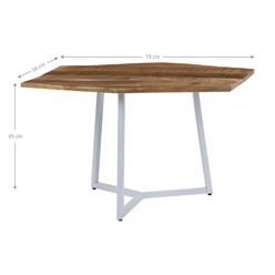 WOMO-DESIGN 2er Set Beistelltisch, natur/weiß, 73x56 / 56x48 cm, sechseckig, aus massives Mangoholz und Eisen