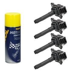 4 x Zündspule Audi Seat Skoda VW mit Motor Starter Spray 450ml