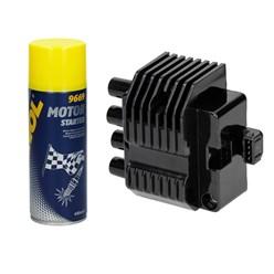Zündspule 4-polig Opel mit Motor Starter Spray
