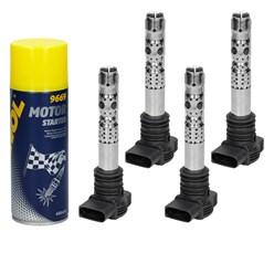 4 x Zündspule Audi VW Skoda + Motor Starter Spray