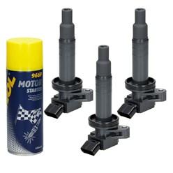 3 x Zündspule Citroen Peugeot + Motor Starter Spray