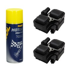 2 x Zündspule Mercedes-Benz mit Motor Starter Spray 450ml