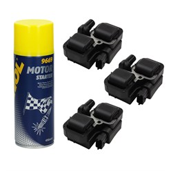 3 x Zündspule Mercedes-Benz mit Motor Starter Spray 450ml