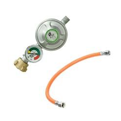 Gasdruckminderer inkl. Manometer mit  Gasdruckschlauch 40 cm