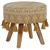 Sitzhocker weiß/gold 38x36 cm aus Stoffbezug mit Holzbeine WOMO-DESIGN