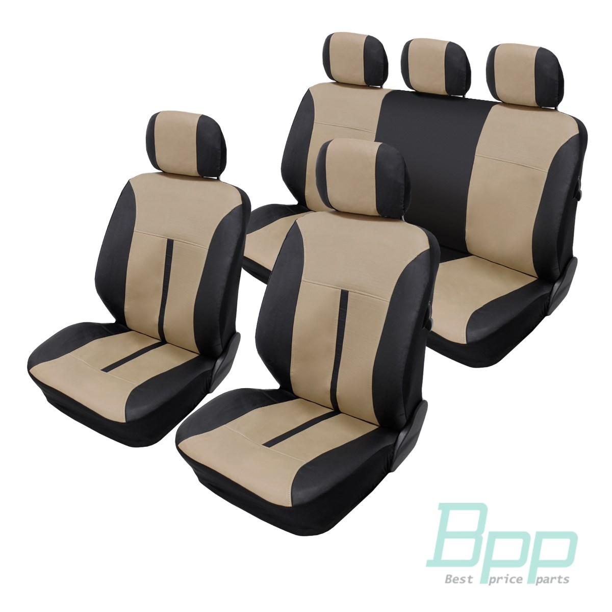 sitzbezug auto sitzbez ge set kunstleder sitz schonbezug beige schwarz ebay. Black Bedroom Furniture Sets. Home Design Ideas
