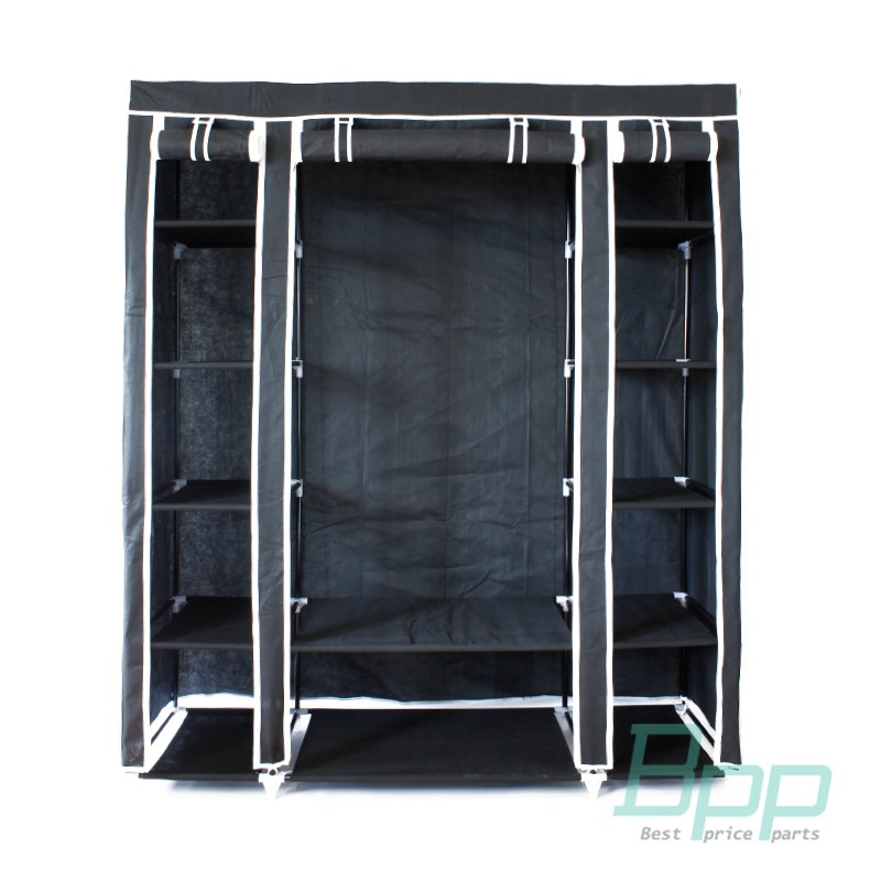kleiderschrank faltschrank textilschrank mobiler schwarz. Black Bedroom Furniture Sets. Home Design Ideas