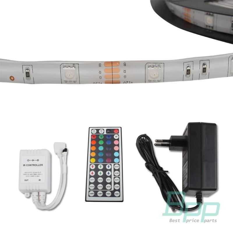 5m rgb 5050 smd led leiste schlauch strip streifen lichtkette 44 keys netzteil ebay. Black Bedroom Furniture Sets. Home Design Ideas