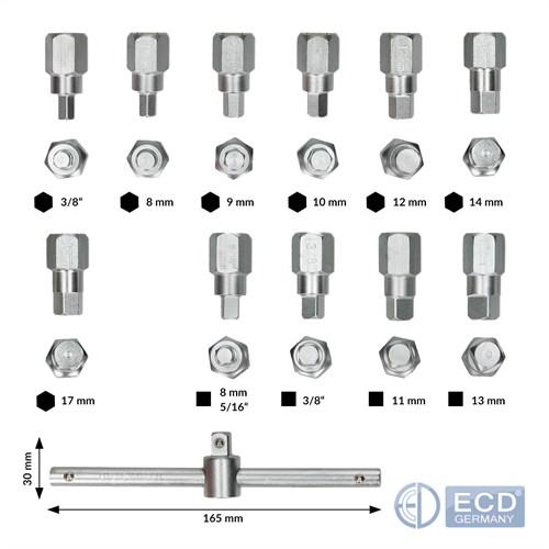 8-17 mm Satz KFZ Öldienst Schlüssel Öldienstschlüssel Ölablassschrauben 12 tlg