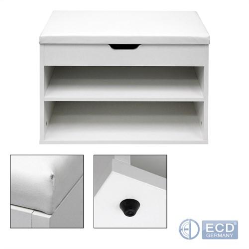 Détails sur Banc de rangement armoire à chaussures 60 x 30 x 43 cm blanc meuble d'entrée