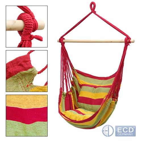 Hängesessel Hängematte Hängestuhl 2 Kissen aus 100/% Baumwolle Rot Grün Gelb