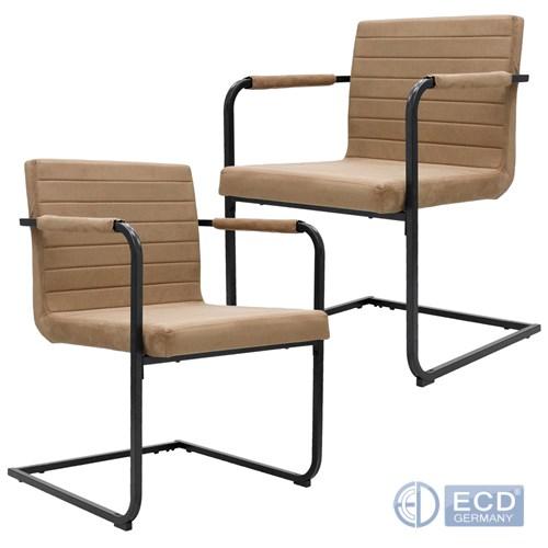Details zu Set 2 pièces chaise de visiteur marron clair modernes pour la  salle à manger