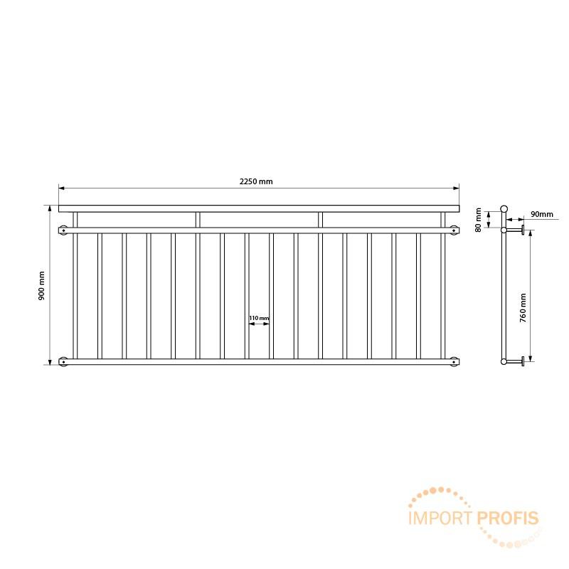 Franzosischer Balkon 225 X 90 Cm Fenstergitter Edelstahl Geburstet