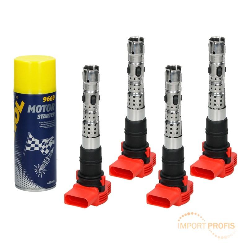 4 x Zündspule Zündmodul + Starter Spray Audi A4 8E B6 A6 4B C5 A8 4E ...