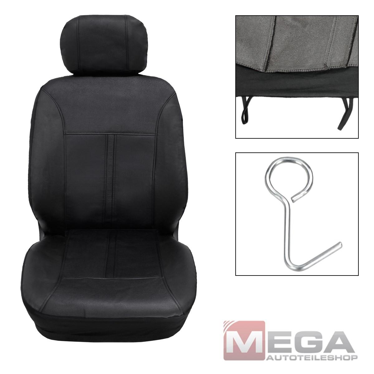 universal auto sitzbezug kunstleder sitzbez ge schonbezug komplettset schwarz ebay. Black Bedroom Furniture Sets. Home Design Ideas
