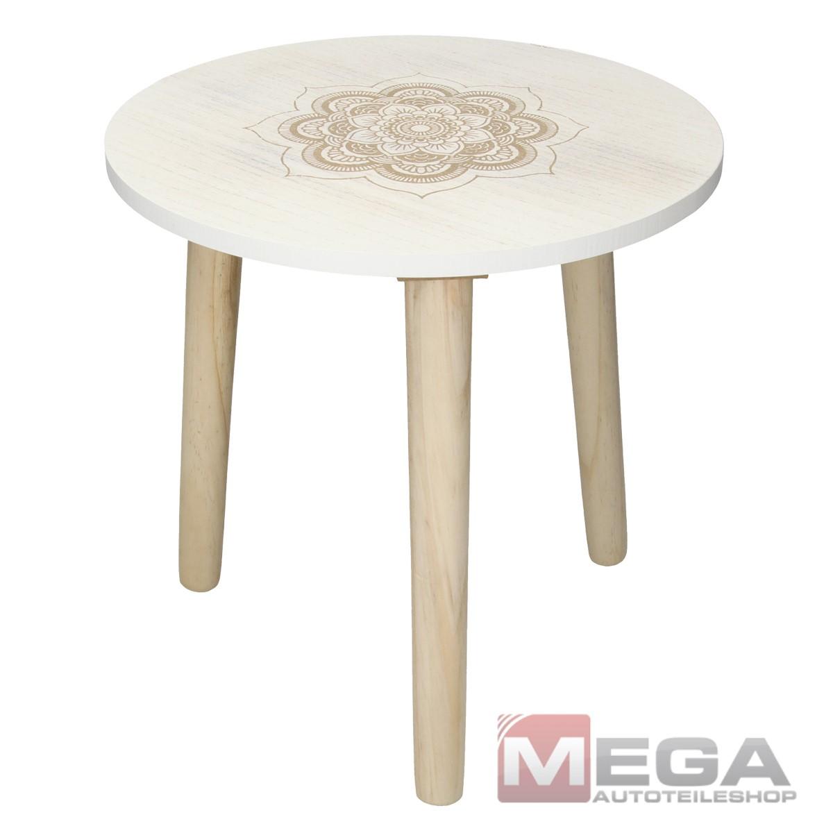 Beistelltisch Tisch Couchtisch Kaffetisch Ablagetisch MDF Holz Rund Weiß Ø 49 cm