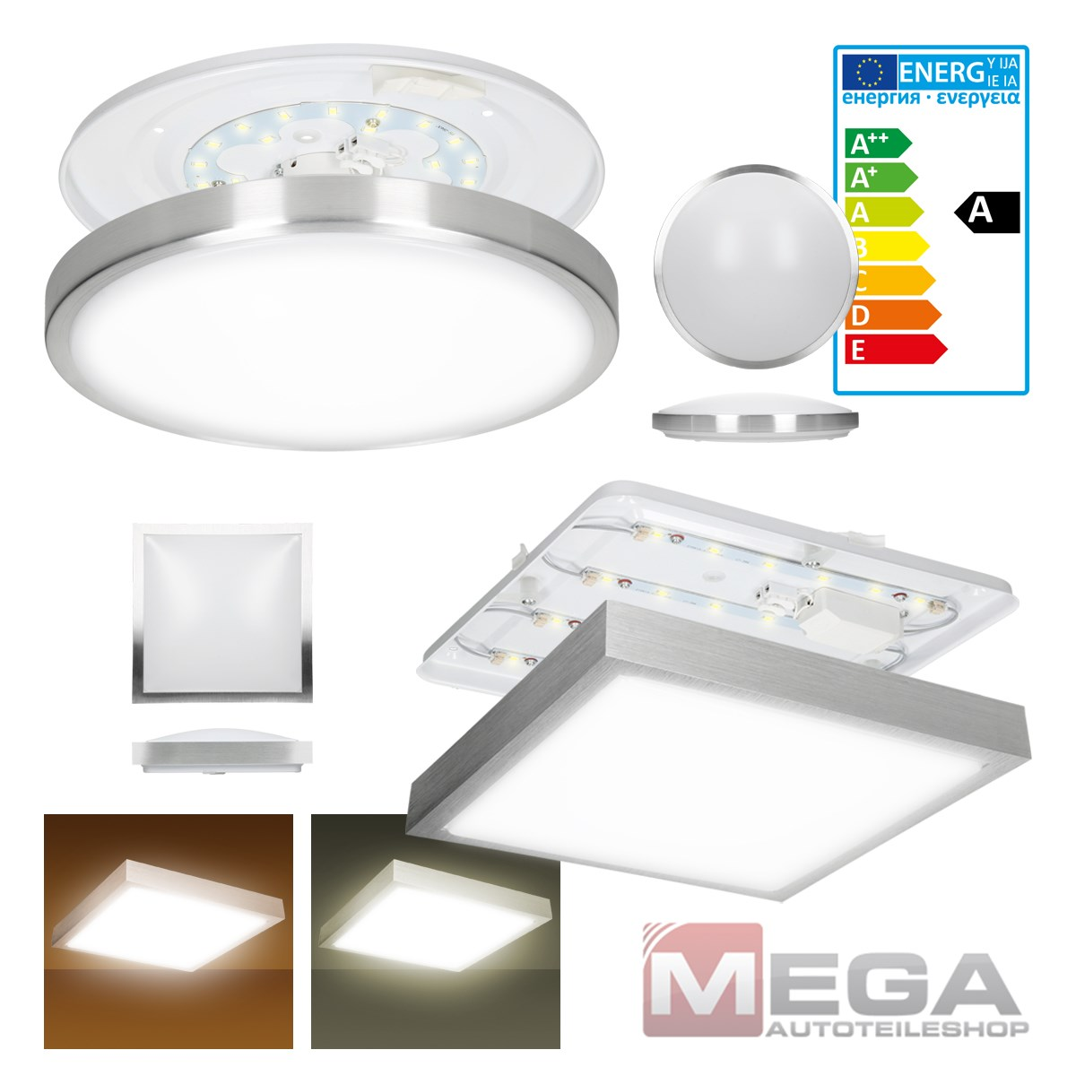 Led deckenleuchte lampe deckenlampe wandlampe aufbaulampe for Deckenlampe eckig led